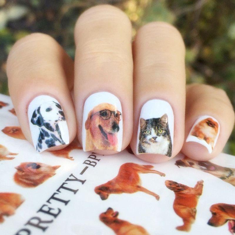 BORN PRETTY 2 Patterns/Sheet Cute Dog Nail Art Water Decals Transfer ...