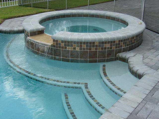 love the tile, pool color and coping | Pool design | Pinterest ...