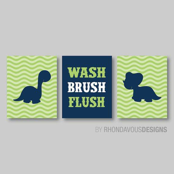 Photo of Dinosaur Bathroom Art Print – Dino Bathroom Art – Dinosaur Bath Decor – Dino Bath Decor – Child Bath Art – Kid Bath – Green Navy (NS-275)