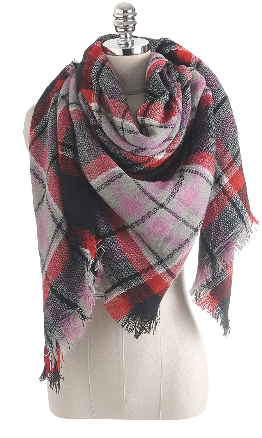 Checks Scarf  Design Plaid Warm  Tartan Winter Shawl Unisex Ladies Men Neck Wrap
