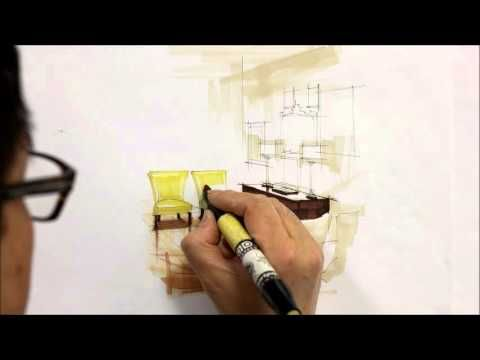 Tutorial Freehand Marker Interior Rendering Hallway