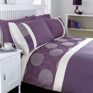Mei Purple Heather Cream Soft Jacquard King Size Duvet Cover and Pillowcases