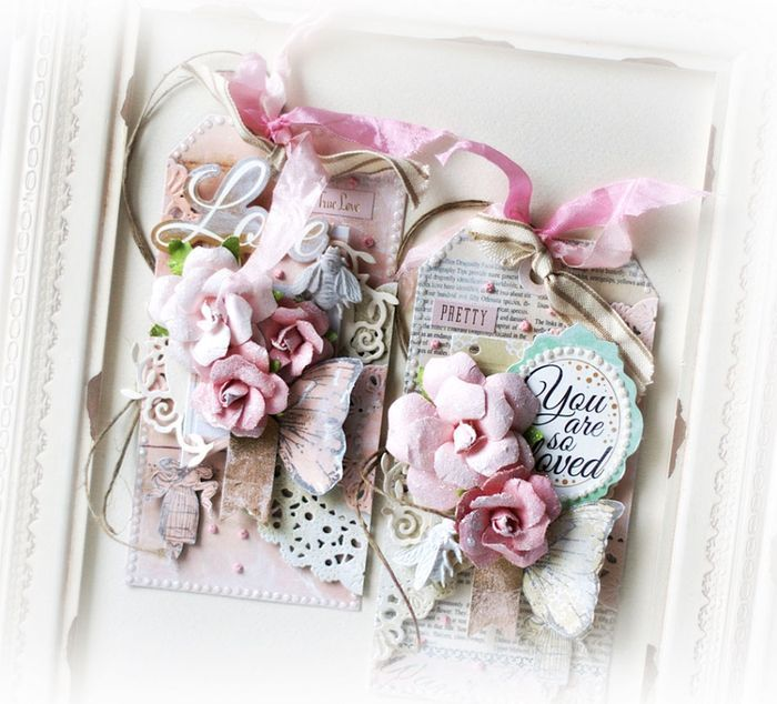 Color Fun! Shabby Chic Tags by Anna Hababicka. #colorcombo #prima #shabbychic