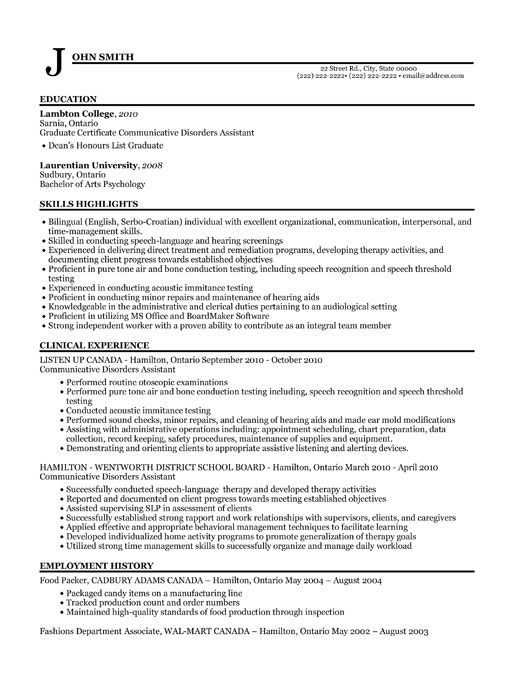 want to be a audiology clinical assistant but think youu0027ve got no sample canadian resume - Clinical Officer Sample Resume