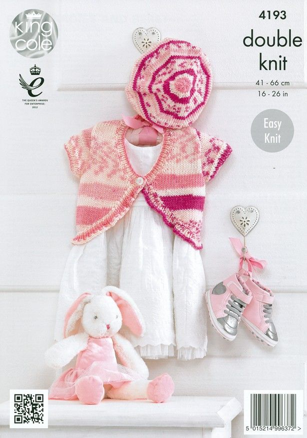 2e7cfa8663ce Baby Cardies and Beret in King Cole Cherish and Cherished DK (4193 ...
