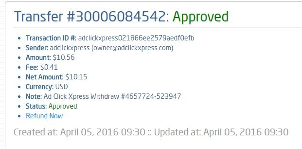 I am getting paid daily at ACX and here is proof of my latest withdrawal. This is not a scam and I love making money online with Ad Click Xpress. Greetings from SolidTrust Pay. You have successfully received money from a registered SolidTrust Pay member! Please be sure to keep this email as your receipt. From STPay member: ad click xpress  Transaction Number: 30006084542 Amount: $10.56 Currency: USD  http://www.adclickxpress.is/?r=hofma80&p=mx