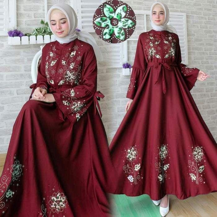 Model Baju Brokat Warna Merah Maroon