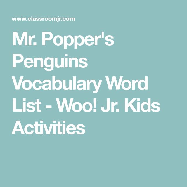 Mr. Popper's Penguins Vocabulary Worksheet Answer Key ...