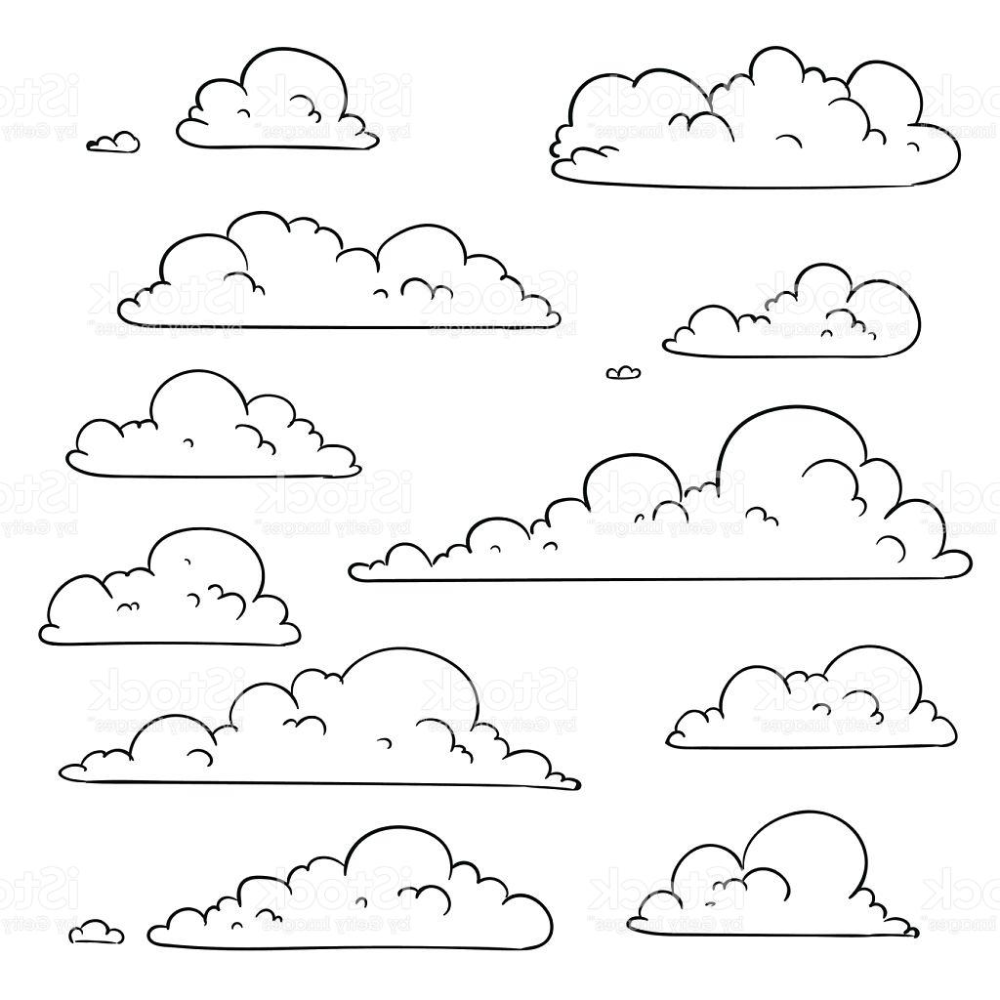 Best Free Vector Abstract Hand Drawn Clouds Image Cloud Line