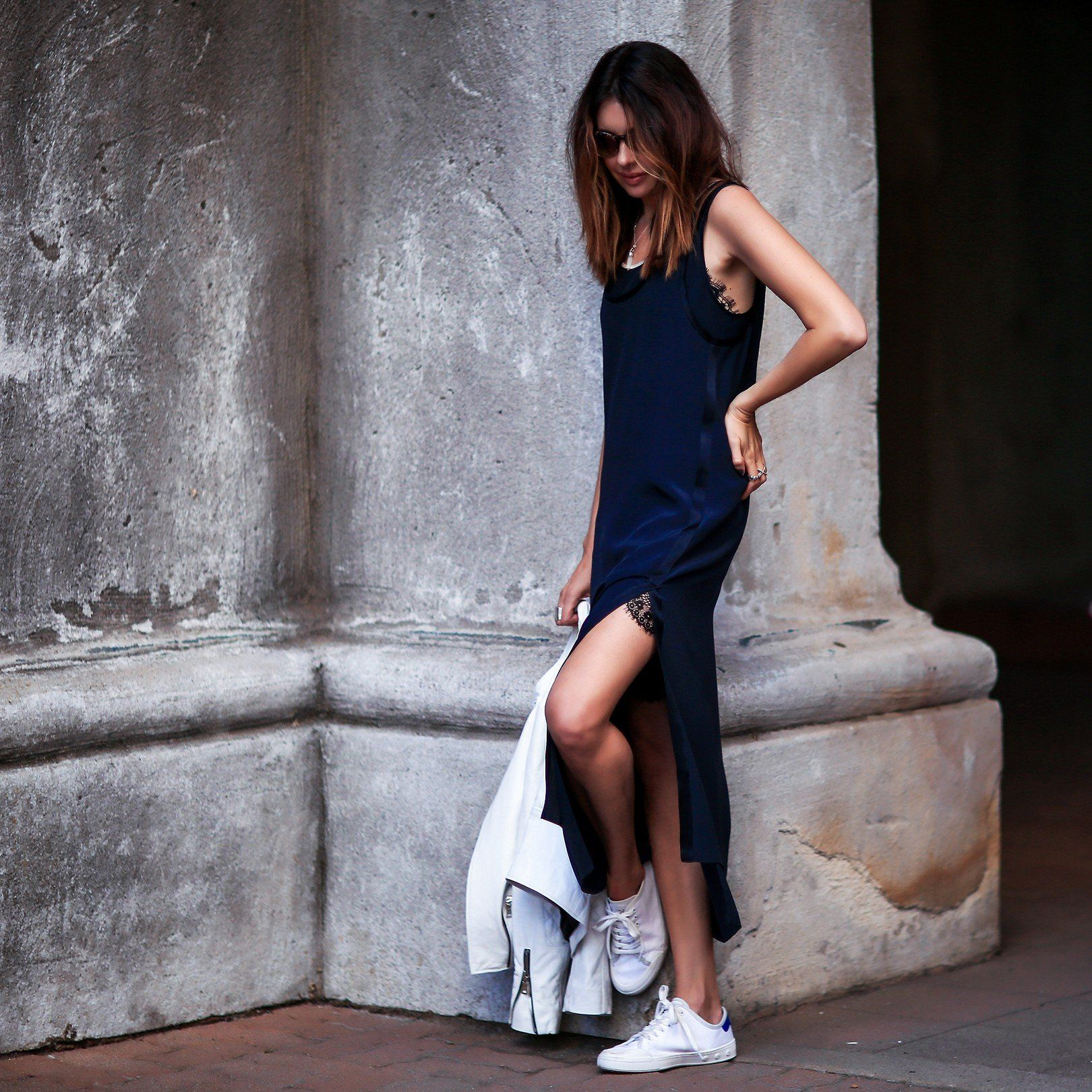 Elevated Casual Midi Dress Sneakers Fashioned Dress With Sneakers Midi Dress Sneakers Sporty Dress [ 1620 x 1620 Pixel ]