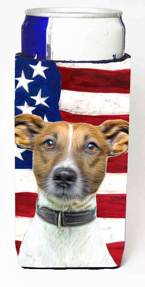 USA American Flag with Jack Russell Terrier Ultra Beverage Insulators for slim cans KJ1155MUK