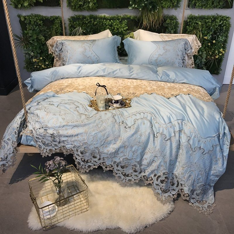Luxury Vintage Lace Duvet Quilt Cover Bedding Set With Pillowcase
