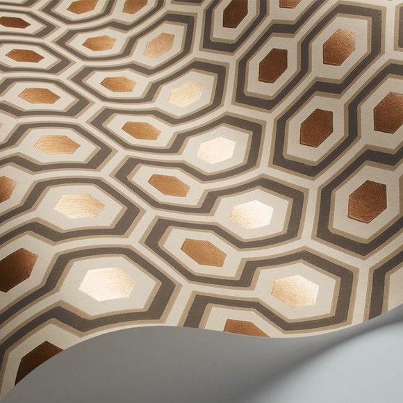 Papier peint Hicks Hexagon   Marron cuivré, Papier peint motif et ...