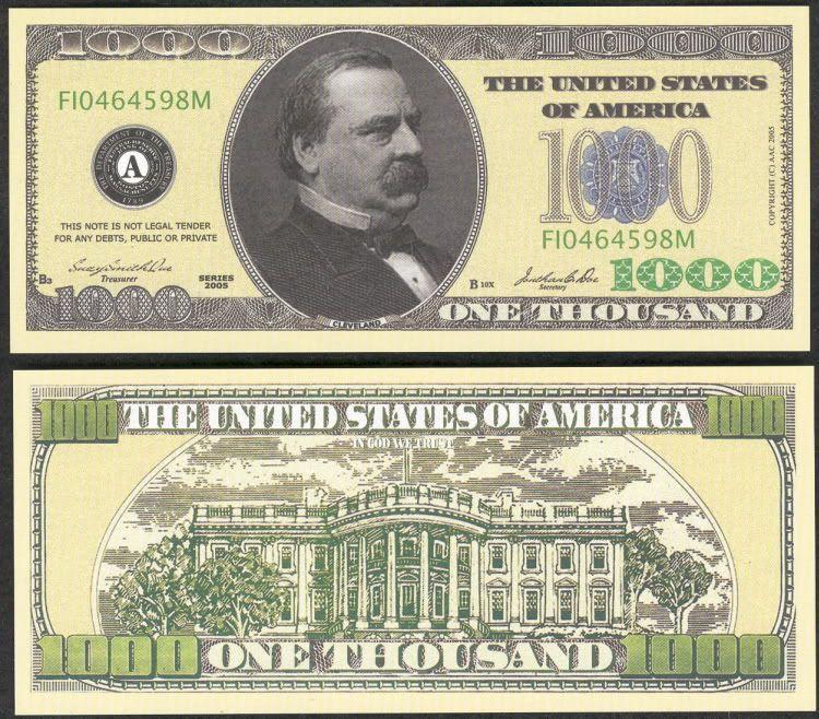 Mega Set Of 477 Novelty Mostly Million Dollar Bills Each Different Thousand Dollar Bill 1000 Dollar Bill One Dollar Bill