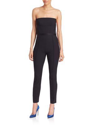 Olivi\' Strapless Stretch Wool Jumpsuit, Black | Diane Von ...