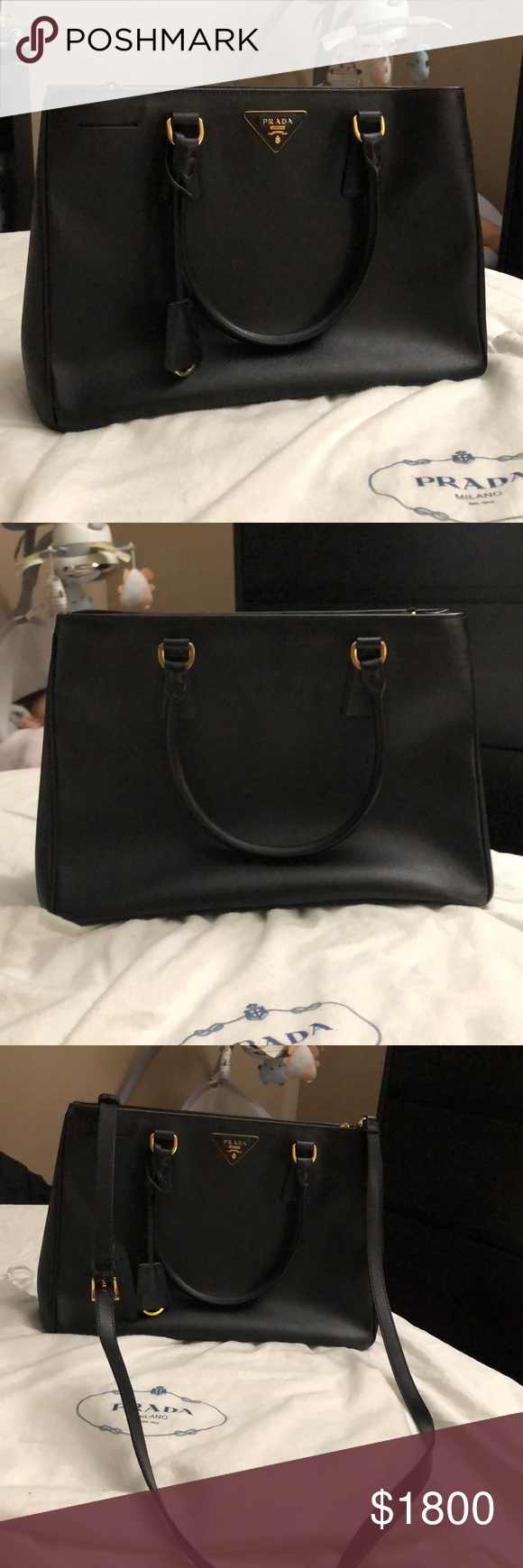494bf302ff3b Authentic Prada Black Saffiano Lux Nero Tu In great condition. Dust bag  included. Prada Bags Shoulder Bags