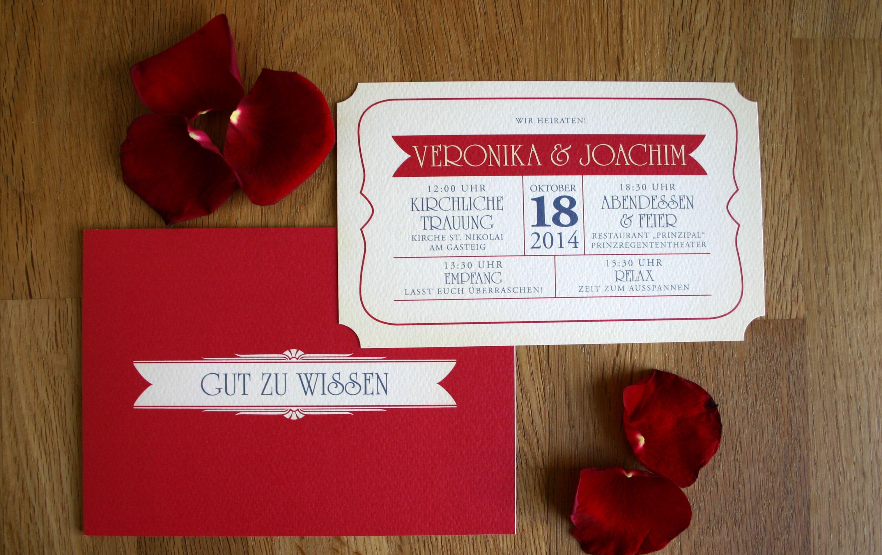 Hochzeitseinladung Theater ticket / Wedding Invitation theatre ...