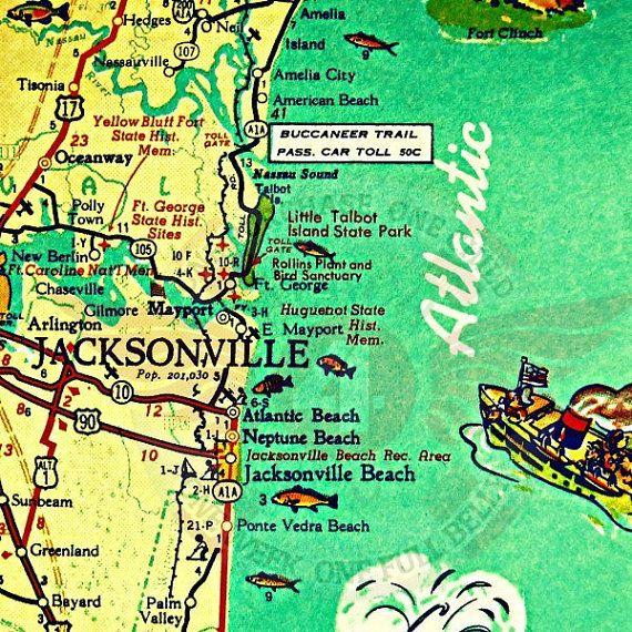 Amelia City Florida Map.Jacksonville Florida Map Jacksonville Beach Art Old Florida Art