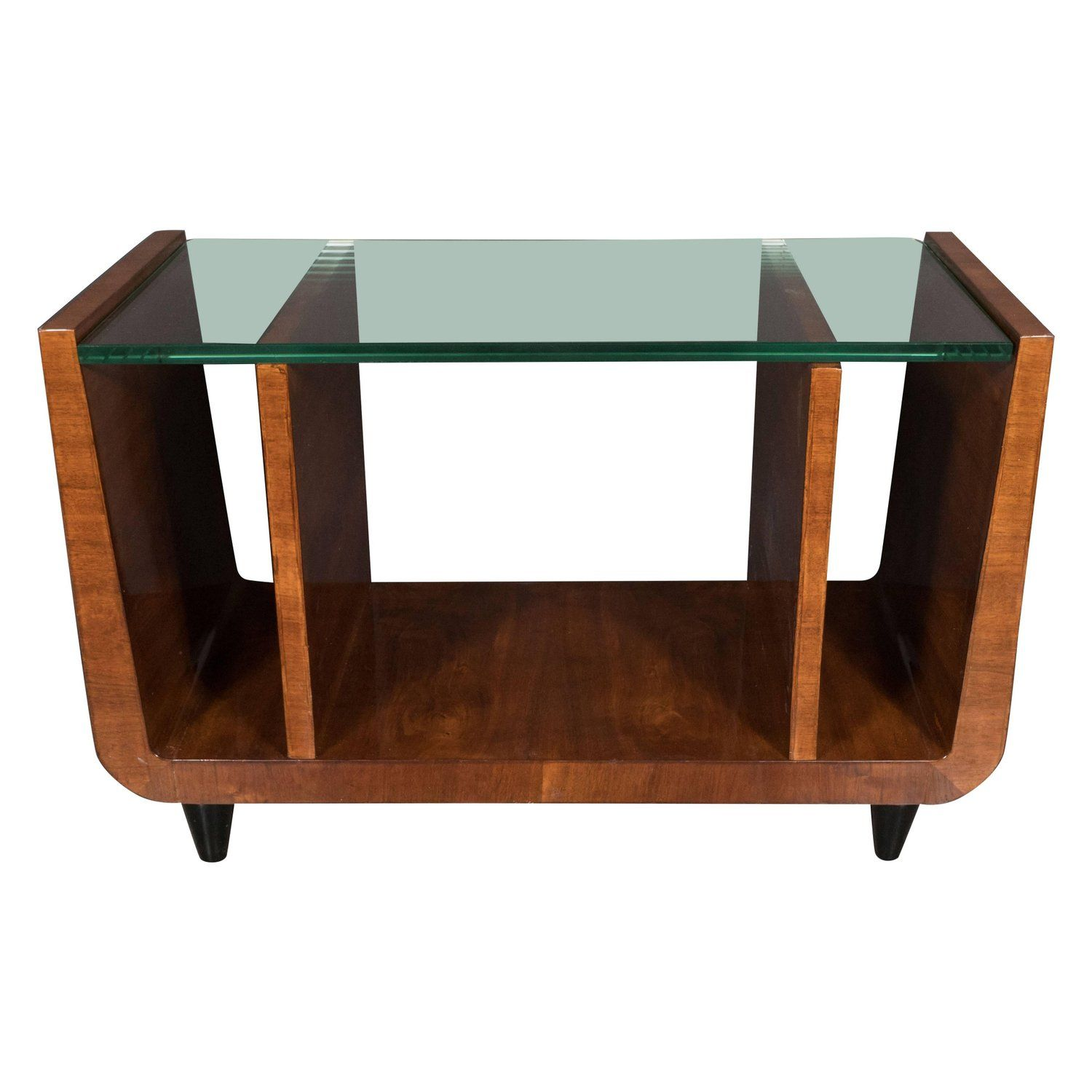 Art Deco Bookmatched Walnut and Black Lacquer Cocktail Table