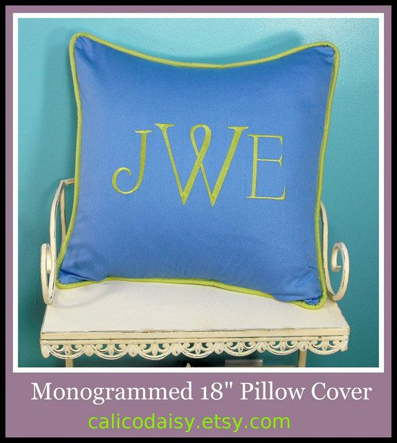 Large Font Monogram Initial Word Pillow Cover - 18 x 18 square. $40.00, via Etsy.