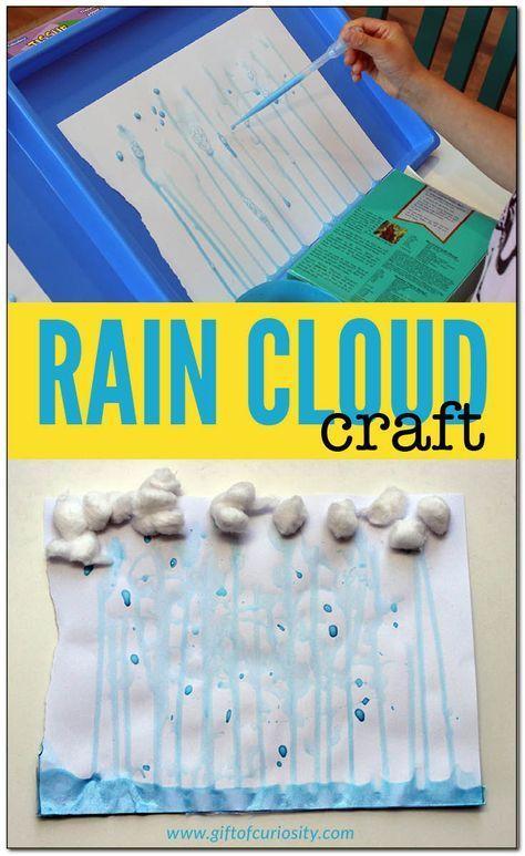 Rain cloud craft | Weather unit for kids | Weather theme for kids | Weather craft | Rain painting || Gift of Curiosity
