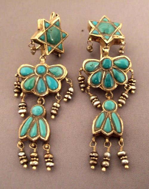 Iran Earrings 22k Gold Turquoise And Pearls These Old Are The Work Of A Jewish Goldsmith 2995