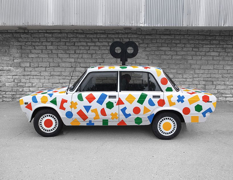colorful wind-up 'toy' car by ryan chapman is ready to race