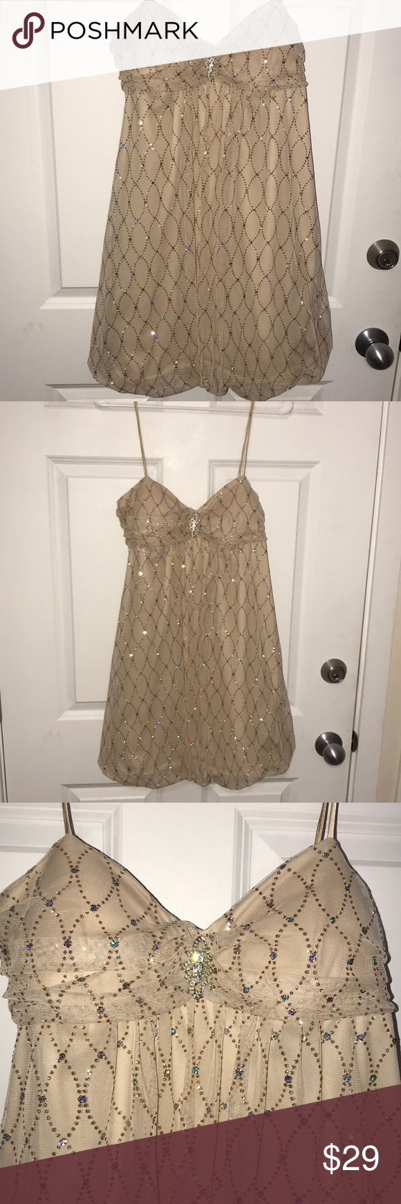 B smart gold jeweled dress tan dress with gauze overlay with gold