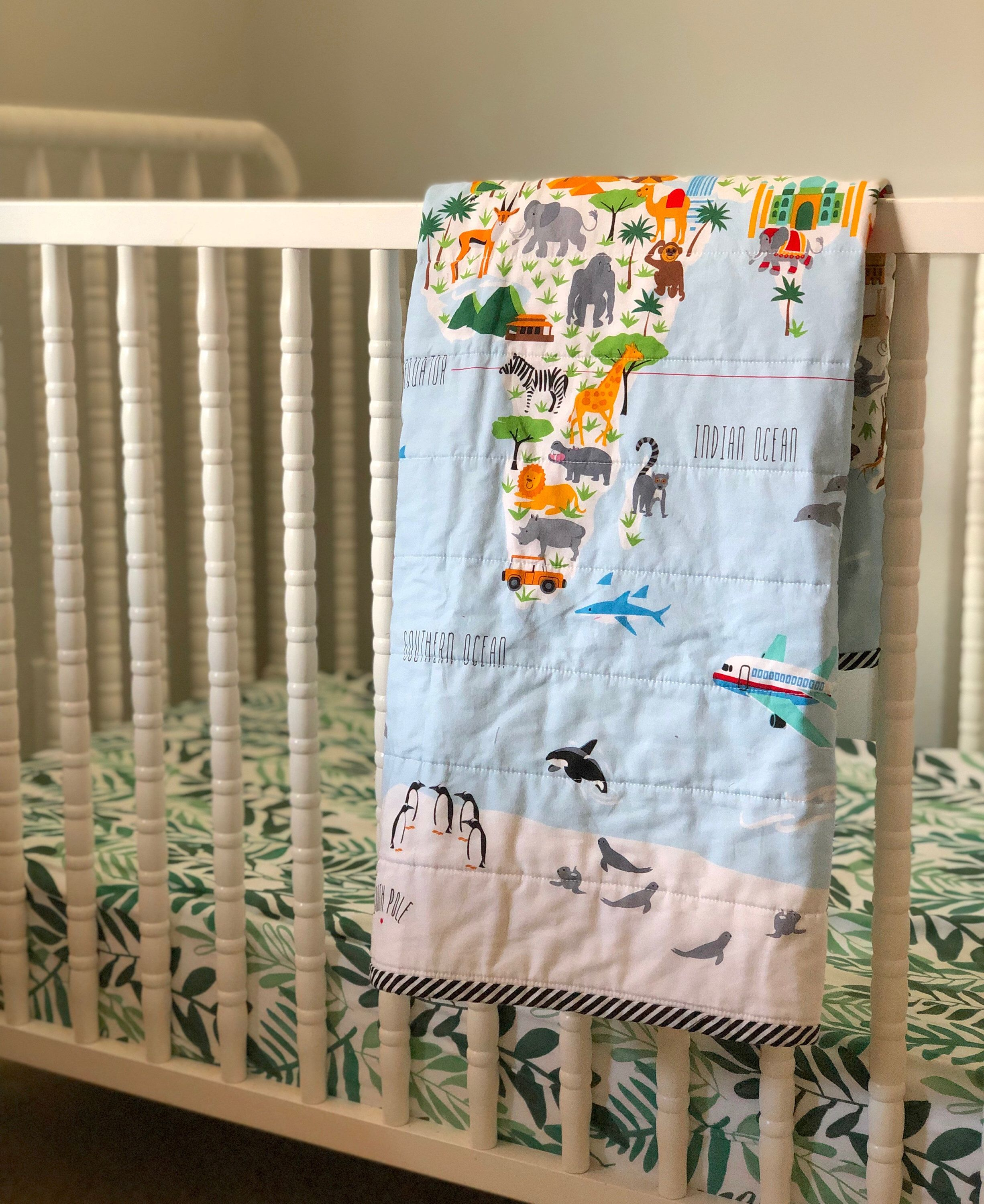 World Map Baby Quilt | Toddler Quilt | Gender Neutral Baby ... on world map silhouette cameo, world map headboard, world map side table, world map coverlet, world map women's clothes, world map bedding set,