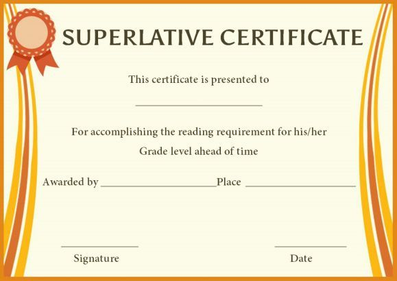 Superlative Award Certificate Templates  Superlative Certificate