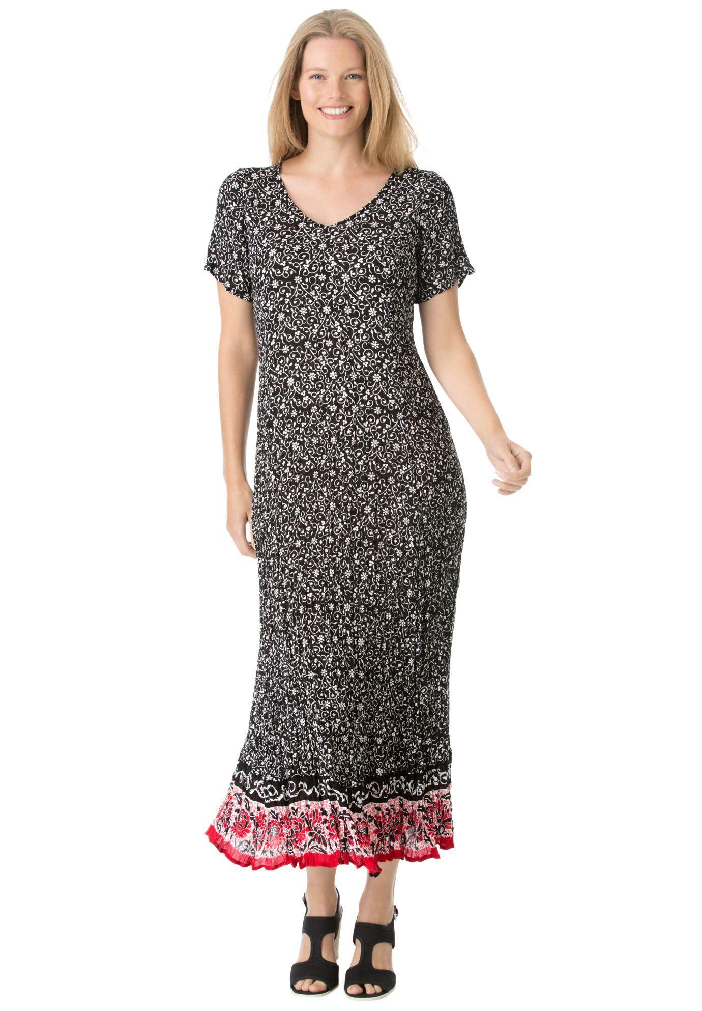 Short sleeve crinkle dress   Plus Size All Dresses   Woman ...