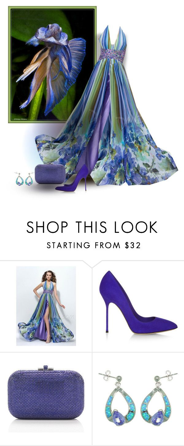 """Siamese Fighting Fish"" by mellapr ❤ liked on Polyvore featuring Sergio Rossi, Judith Leiber and Carolina Glamour Collection"