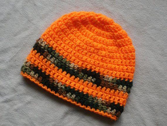 Crochet Beanie Hat Boys Camo and Orange by Hats4Brats on Etsy 31394aa2363d