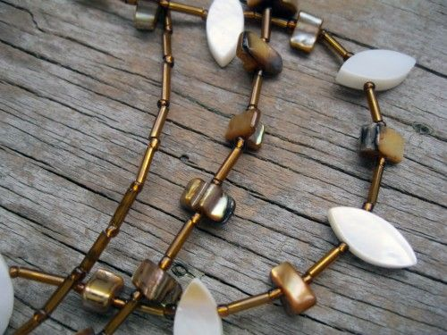 Copper and White Shell Triple Strand Jewelry Set