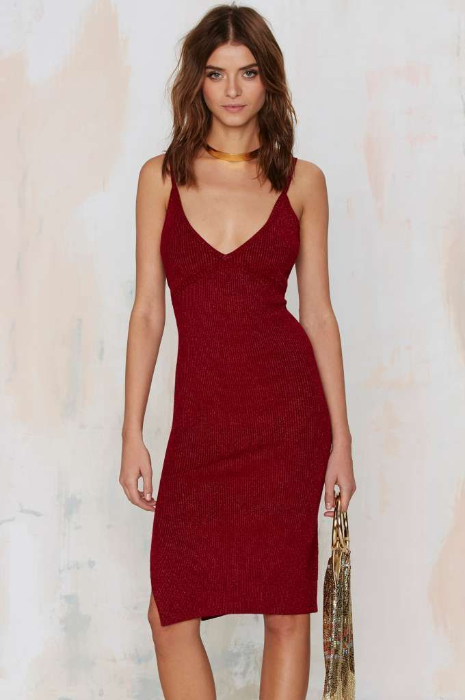 Nasty Gal Knit Your Average Girl Plunging Dress - Red - Going Out | Midi + Maxi | Solid | Dresses | Clothes | Dresses & One Pieces