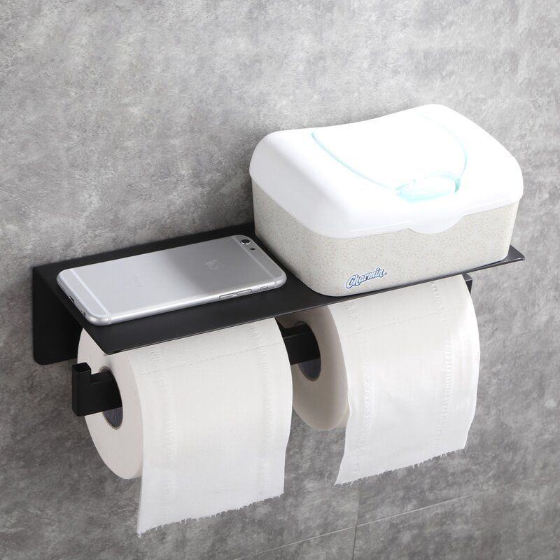 Double Roll Stainless Steel Wall Mount Toilet Paper Holder With Phone Shelf In 2020 Wall Mounted Toilet Toilet Paper Holder Black Toilet