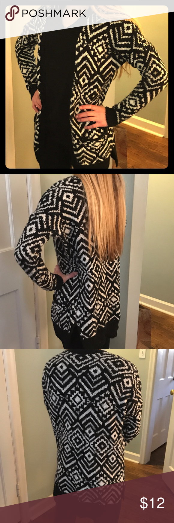 Abercrombie Kids Aztec Print Sweater, Girls Large Cute Black and White Aztec Sweater. Great used condition purchased last season. Approximately 2 in side split and back slightly longer than front/sides. Super cute, my daughter just doesn't reach for it anymore and I want someone to enjoy it! abercrombie kids Shirts & Tops Sweaters