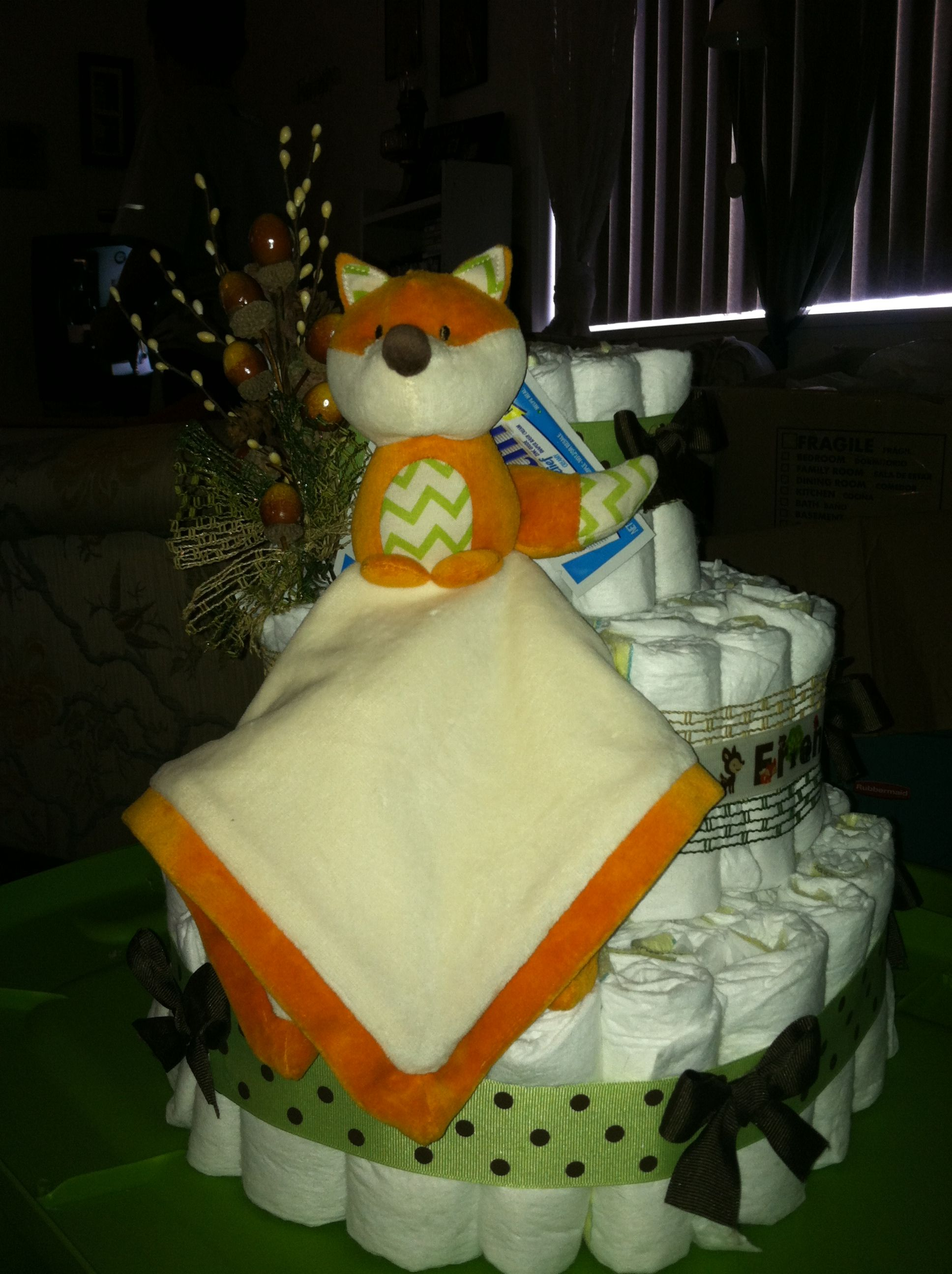 Fox woodland friends diaper cake, my sisters amazing ...