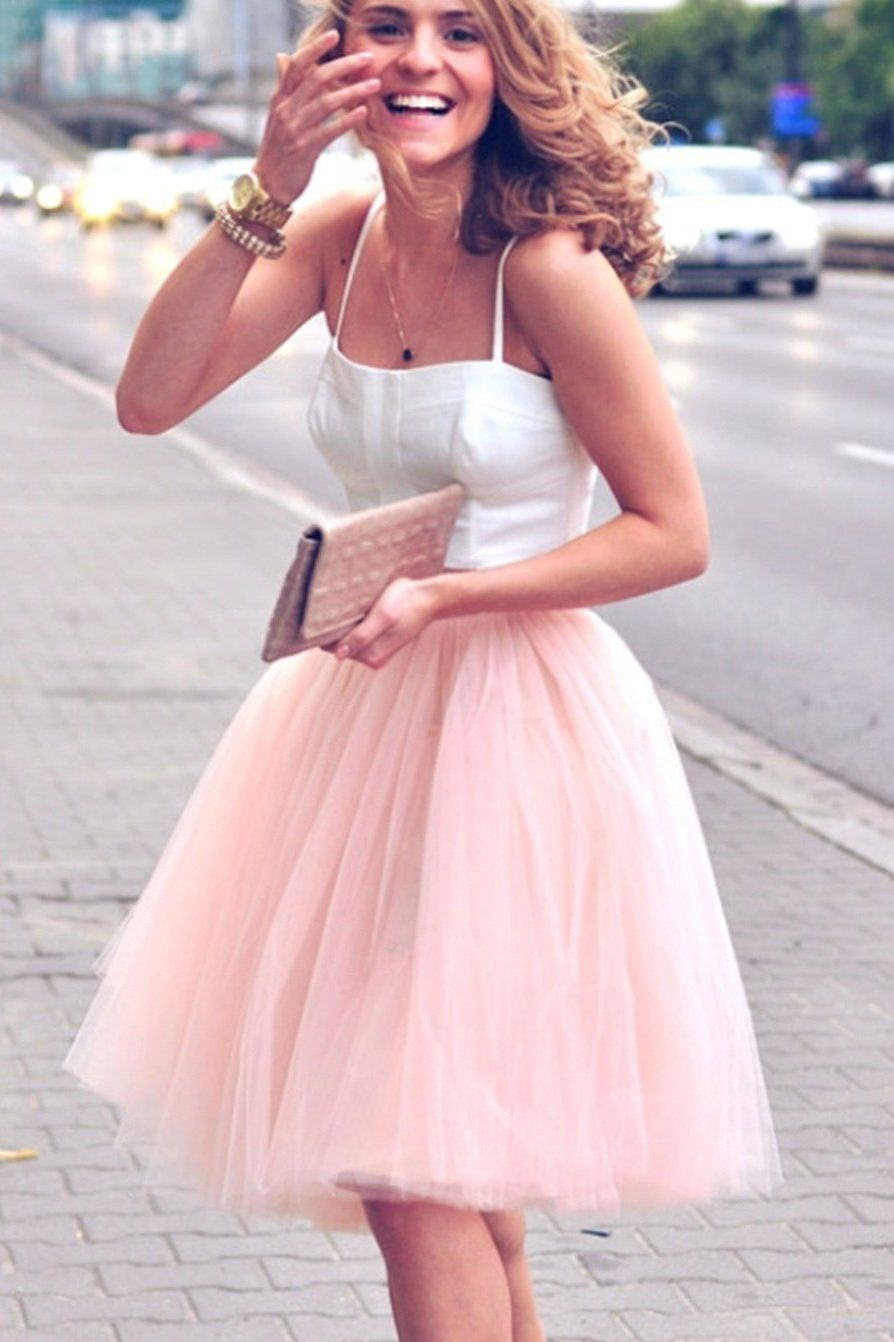 Spaghetti straps two piece blush pink homecoming dress short party
