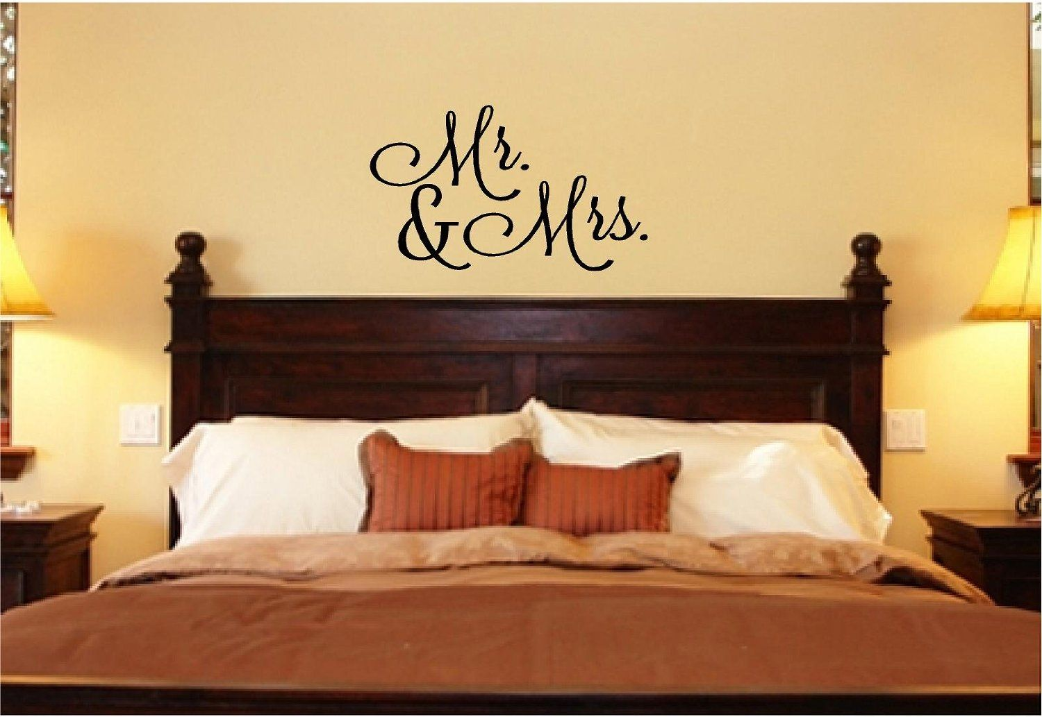 Mr and Mrs lettering wall art decal. | house ideas | Pinterest ...