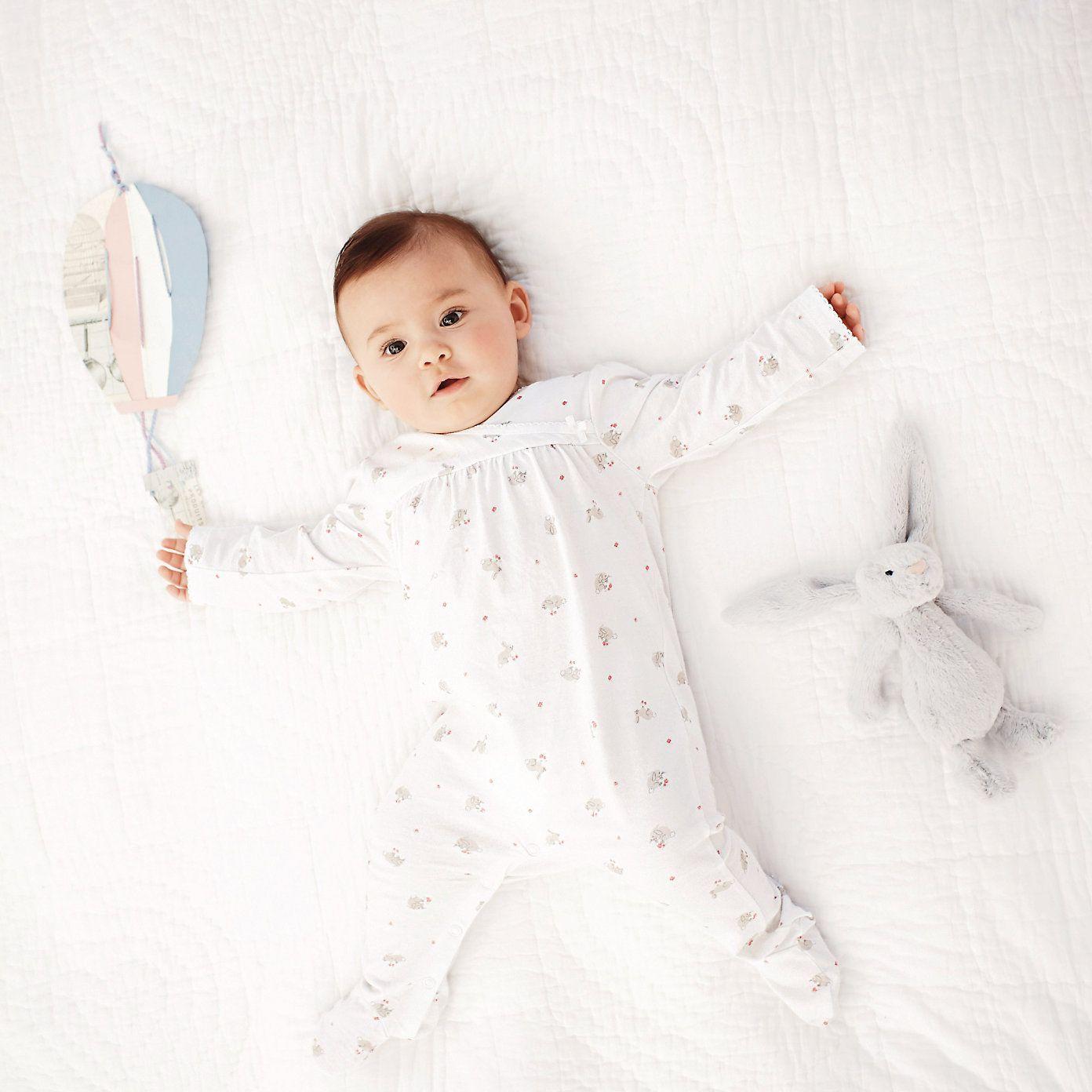 Bunny Jersey Sleepsuit | The White Company