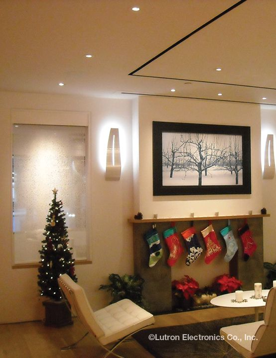 Provide functional, aesthetic pendant lights over your #fireplace for the #holidays with Ivalo Lighting designs by #Lutron