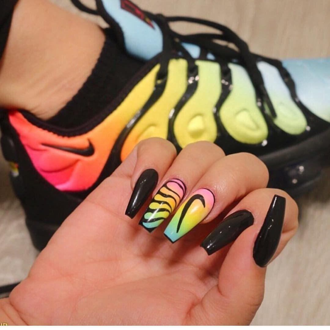 Nails Matching Nike Nike Nails Pretty Acrylic Nails Sneaker Nails