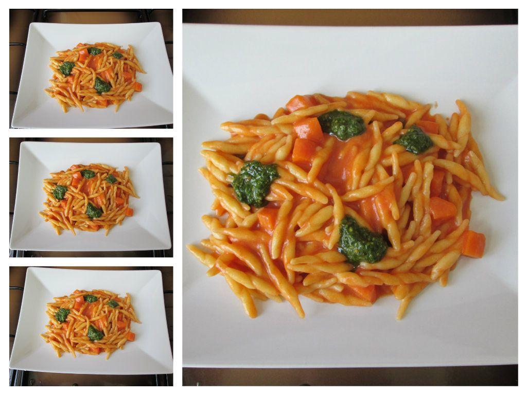 Pasta   Trofie   au tomate   rosè  avec   fromage et pesto  de  basilique   Gino D'Aquino