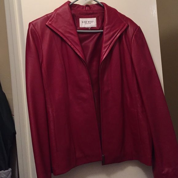 Leather Jacket OFFERS WELCOME! Nine West Separates red leather jacket. This jacket is authentic leather. Like new and in excellent condition. Can fit sizes large and x-large. Nine West Jackets & Coats