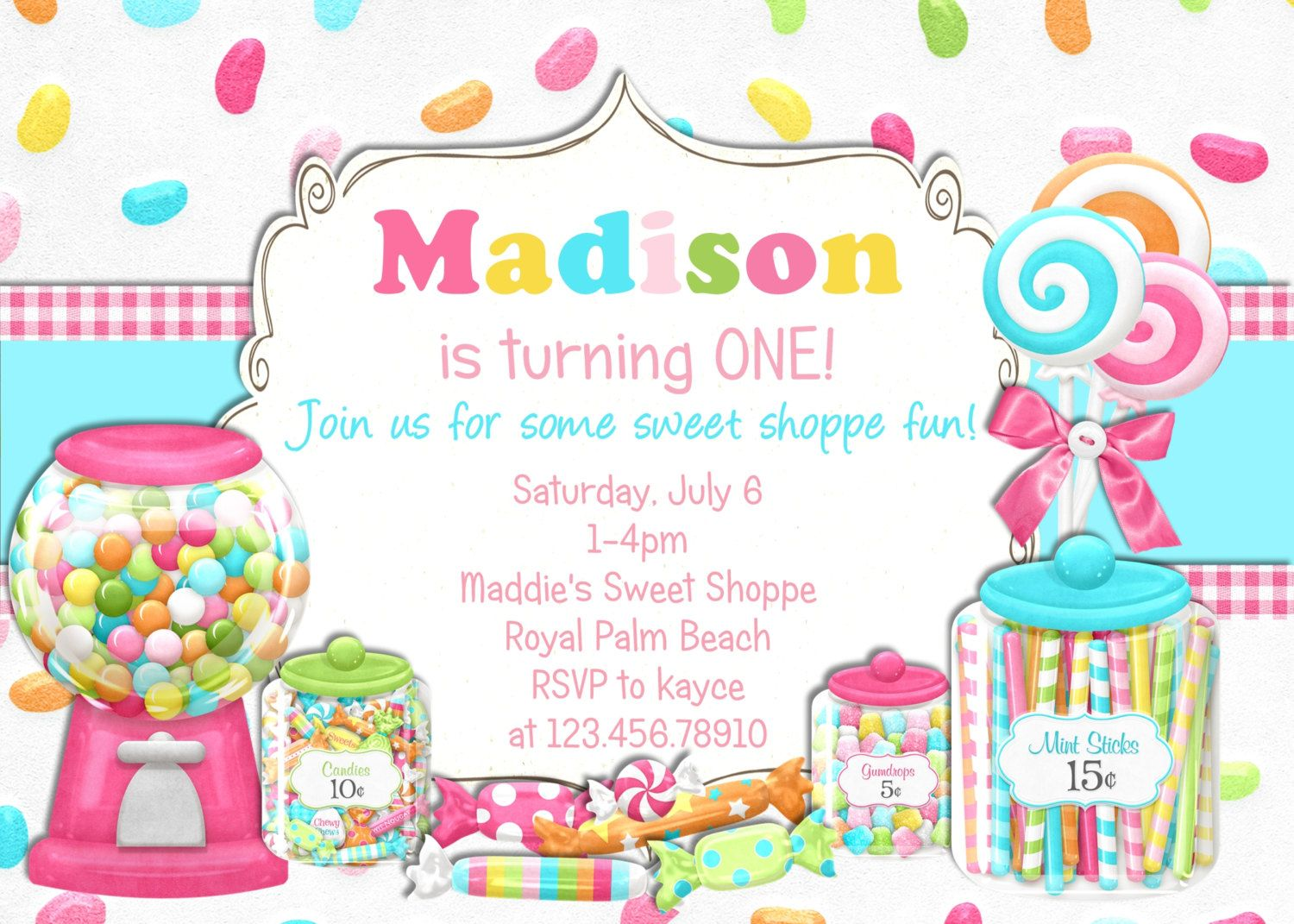 Bright Candy Shoppe Birthday Invitation - Printable Choose Your ...