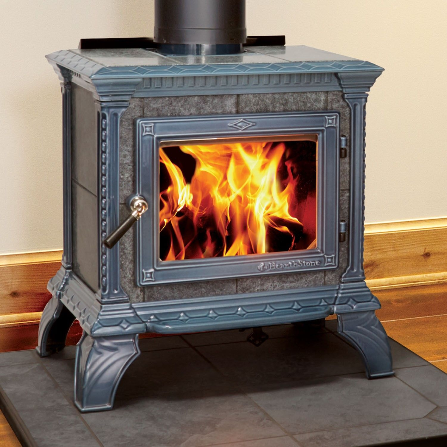 tribute 8040 wood stove with with seafoam majolica enamel finish by
