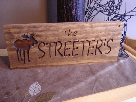 Custom Wood Carved Last Name Address Plaque By