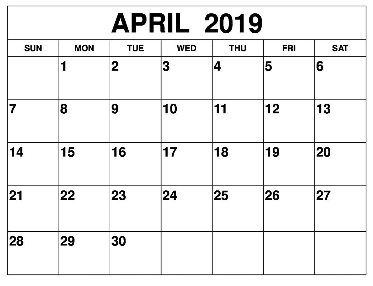 April 2019 Calendar Printable Large Print Printable Calendar