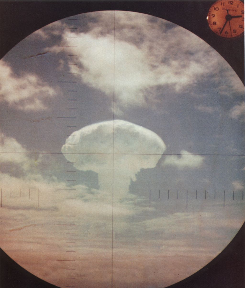 A 1962 nuclear explosion as seen through the periscope of a U.S. Navy submarine.